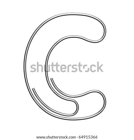Letter C from paper-clip alphabet. There is a clipping path