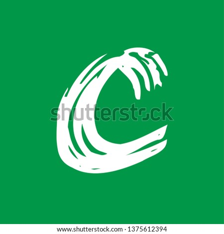Letter c - Handwritten lower case, flat brush style, white over green background. For logotype, mark development, general design, cards, folders, advertisements and every typographic needs