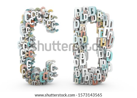 Letter C, Letter D. Letters A B made of small characters. Random multicolor letters set. English alphabet 3D rendering. Pastel colors. Creative letters set isolated on white background.