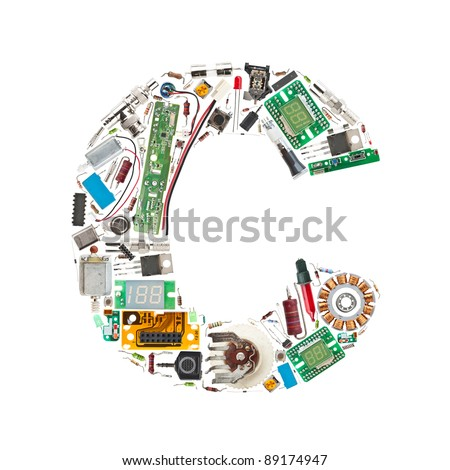 Letter 'C' made of electronic components isolated in white background