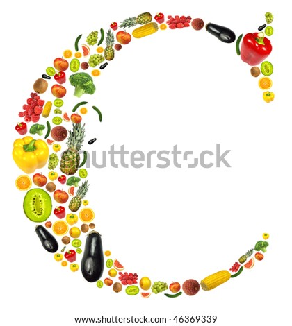 "Letter ""C"" made of fruit and vegetable"