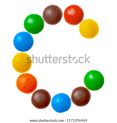 Letter C of sweet colored candies, alphabet isolated on white background #1171296469