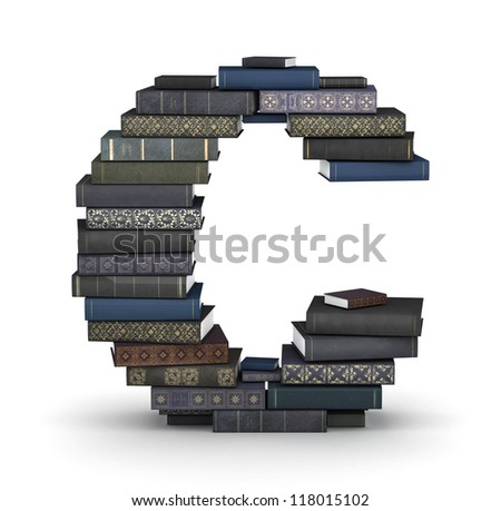 Letter C, stacked from many  books in pile