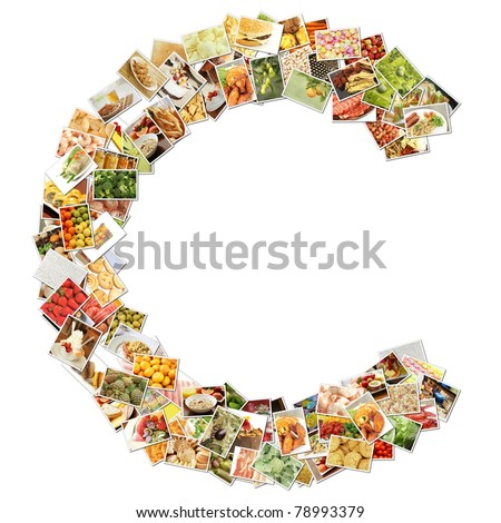 Letter C with Food Collage Concept Art