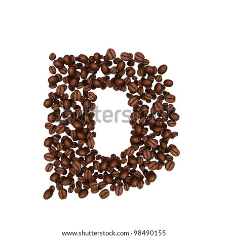 Letter D .Alphabet from coffee beans. isolated on white.