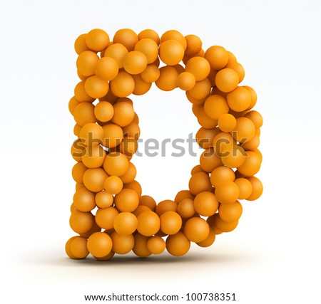 Letter D, font of orange citrus fruits on white background