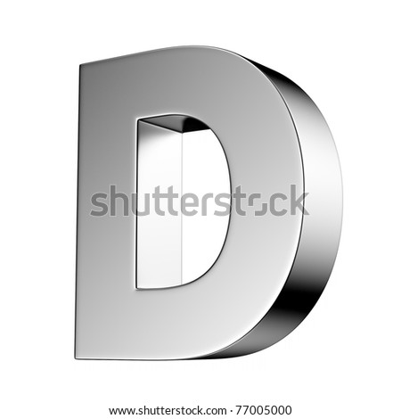 Letter D from chrome solid alphabet. There is a clipping path