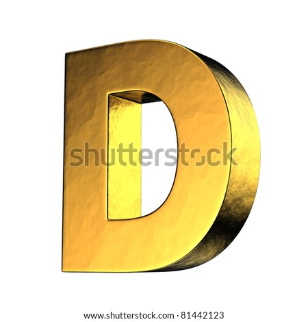 Letter D from gold solid alphabet. There is a clipping path