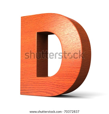 Letter D from redwood alphabet. There is a clipping path