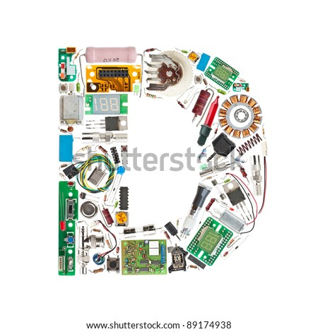 Letter 'D' made of electronic components isolated in white background