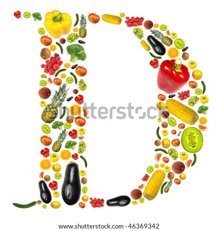 "Letter ""D"" made of fruit and vegetable"