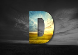 Letter D Made of landscape Typographic, Monogram