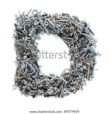 Letter 'D' made of screws isolated in white background