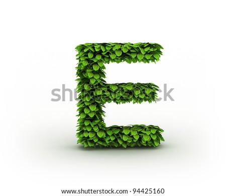 Letter  E, alphabet of green leaves isolated on white background