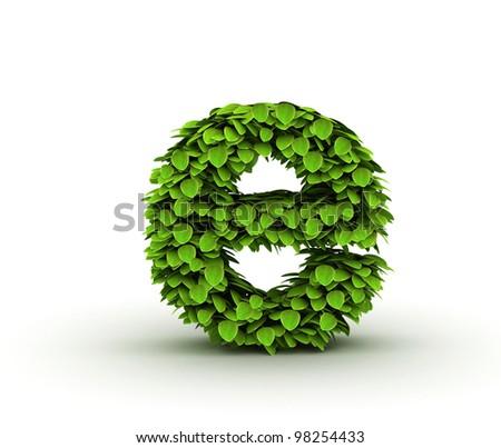 Letter e, alphabet of green leaves, small caps