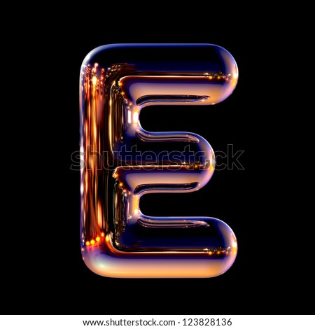 Letter E from chrome night city alphabet isolated on black