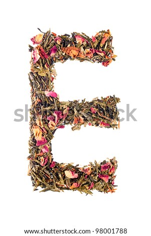 Letter 'E' from herbal tea alphabet - stock photo