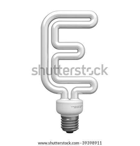 Letter E from lamp alphabet. There is a clipping path