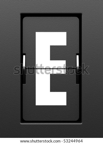 Letter E from mechanical scoreboard alphabet