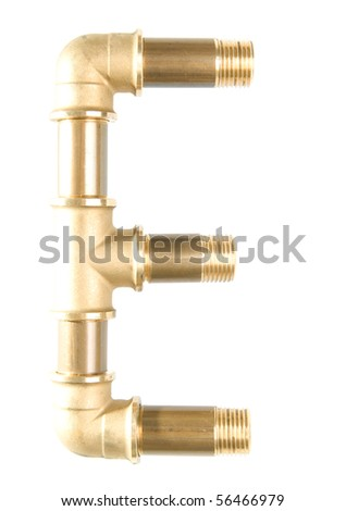 Letter E from water pipes