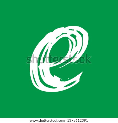 Letter e - Handwritten lower case, flat brush style, white over green background. For logotype, mark development, general design, cards, folders, advertisements and every typographic needs