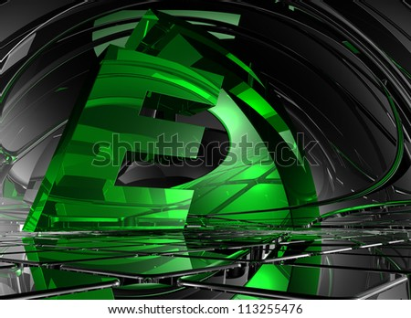letter e in abstract futuristic space - 3d illustration - stock photo