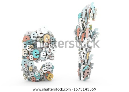 Letter E, Letter F. Letters A B made of small characters. Random multicolor letters set. English alphabet 3D rendering. Pastel colors. Creative letters set isolated on white background.