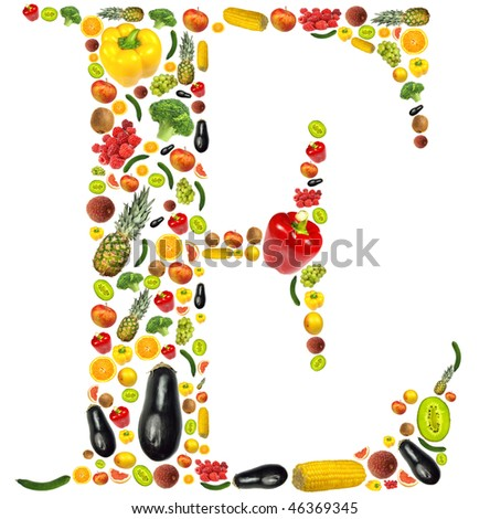 "Letter ""E"" made of fruit and vegetable"