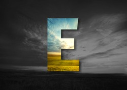 Letter E Made of landscape Typographic, Monogram