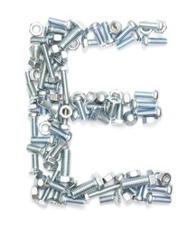 Letter E made of screws on white background