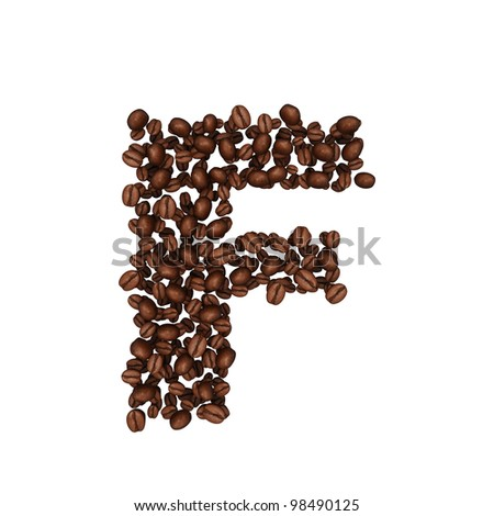Letter F. Alphabet from coffee beans. isolated on white.