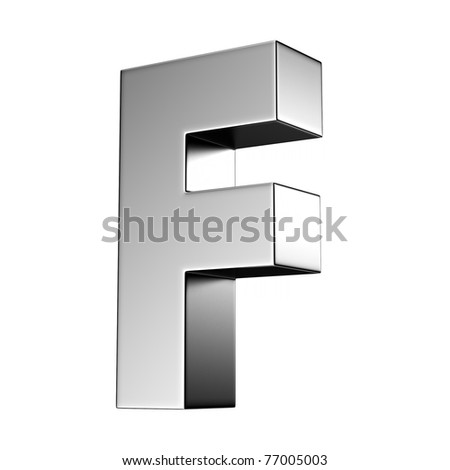 Letter F from chrome solid alphabet. There is a clipping path