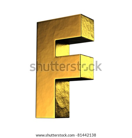 Letter F from gold solid alphabet. There is a clipping path