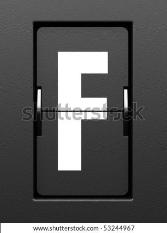 Letter F from mechanical scoreboard alphabet