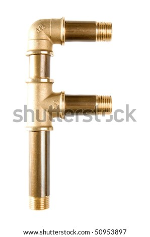 Letter F from water pipes Foto stock ©