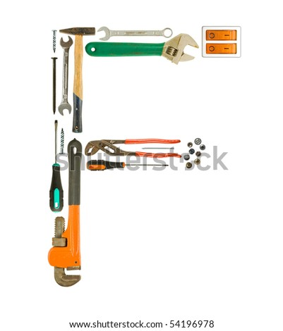 Letter 'F' made of tools isolated on white Foto stock ©