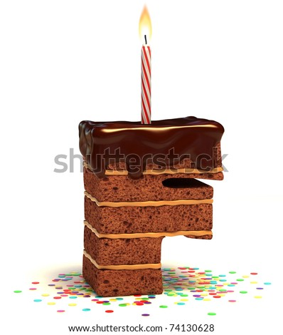 letter F shaped chocolate birthday cake with lit candle and confetti isolated over white background 3d illustration