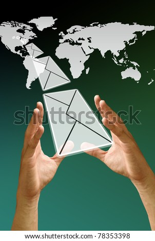 Letter fly from America map, Email Concept
