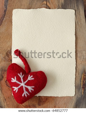 Letter for santa with old parchment and heart