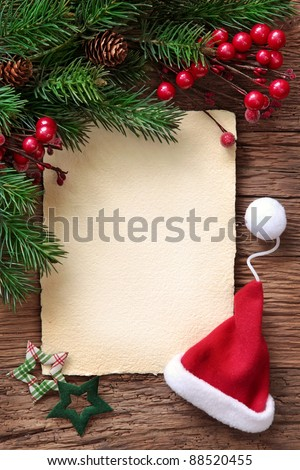 Letter for santa with old parchment and santa hat