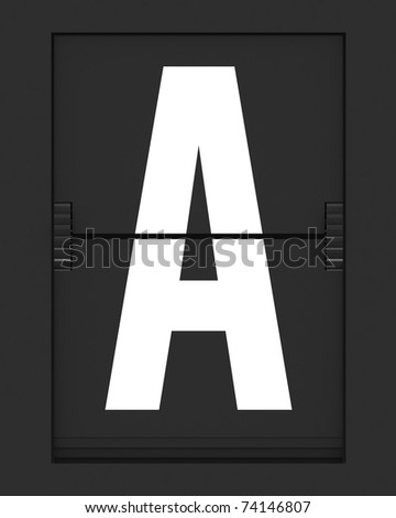 Letter from a split flap mechanical board. 3D render and part of a series.