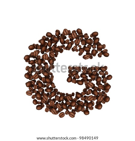 Letter G. Alphabet from coffee beans. isolated on white. - stock photo