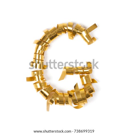 Letter G. Alphabet letters from objects. Gold gift ribbons on a blank white background. #738699319
