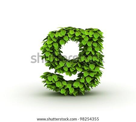 Letter  g, alphabet of green leaves, small caps