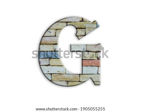 Letter G, brick structure, alphabet, font, architecture pattern, cement  stone material texture, isolated on white, design element , 3d typographic Stock fotó ©