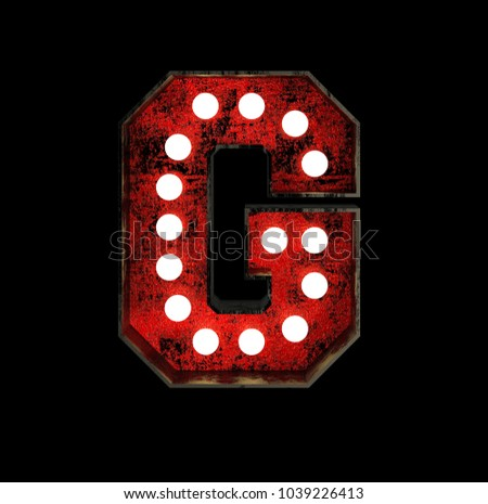 Letter G. Broadway Style Light Bulb Font made of rusty metal frame. 3d Rendering isolated on Black Background