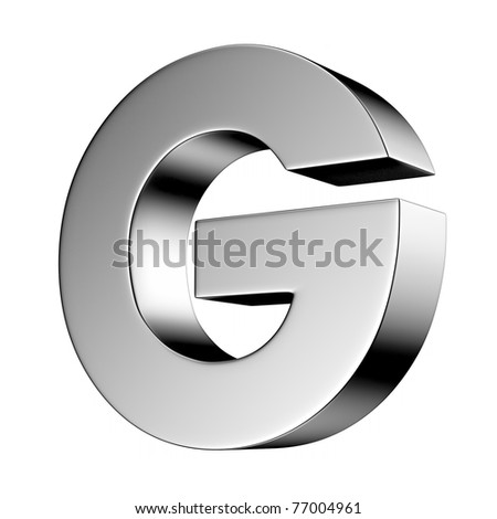 Letter G from chrome solid alphabet. There is a clipping path