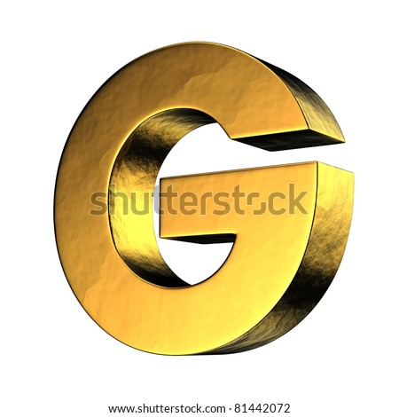 Letter G from gold solid alphabet. There is a clipping path