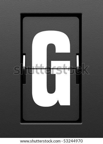 Letter G from mechanical scoreboard alphabet