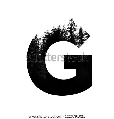 Letter G hipster wilderness font lettering. Outdoor adventure. #1223791021